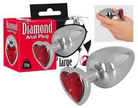 Popsi szex, anál szex / Dildó, vibrátor, butt-plug / Diamond - 159g-os alumínium anál dildó (ezüst-piros)