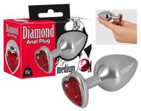 Popsi szex, anál szex / Dildó, vibrátor, butt-plug / Diamond - 85g-os alumínium anál dildó (ezüst-piros)