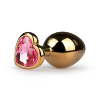 Popsi szex, anál szex / Dildó, vibrátor, butt-plug / Easytoys Metal No.7 - pink köves szíves kúp anál dildó - arany (3 cm)