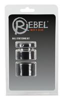 Férfi kellékek / Péniszgyűrű, heregyűrű / Rebel Ball - pénisz-, heregyűrű és nyújtó szett - (fekete)