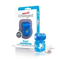 Férfi kellékek / Péniszgyűrű, heregyűrű / Screaming Charged BigO - akkus, csillagos péniszgyűrű (kék)